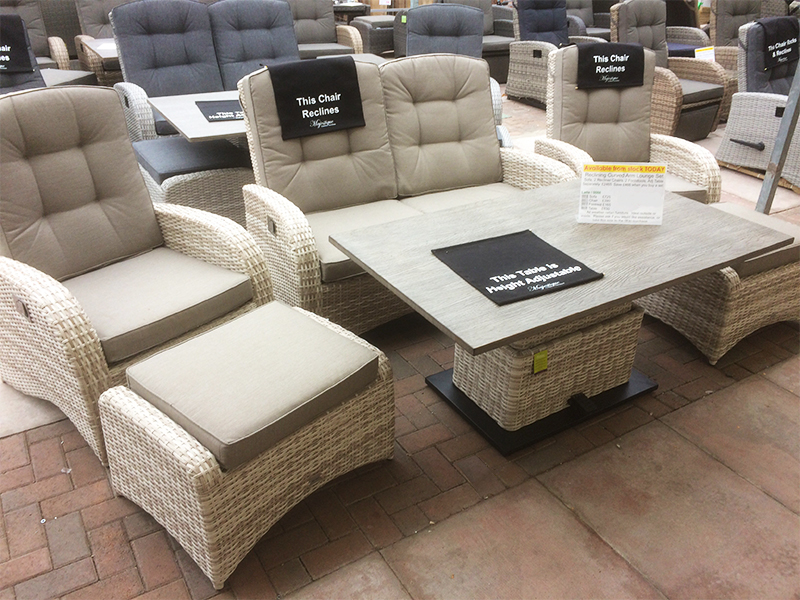 The latte coloured rattan reclining sofa set