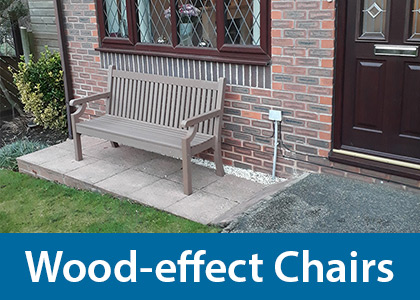 Wood-effect composite chairs and benches