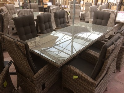 8 Seater Rectangle Reclining Dining Set in Cappuccino Rattan