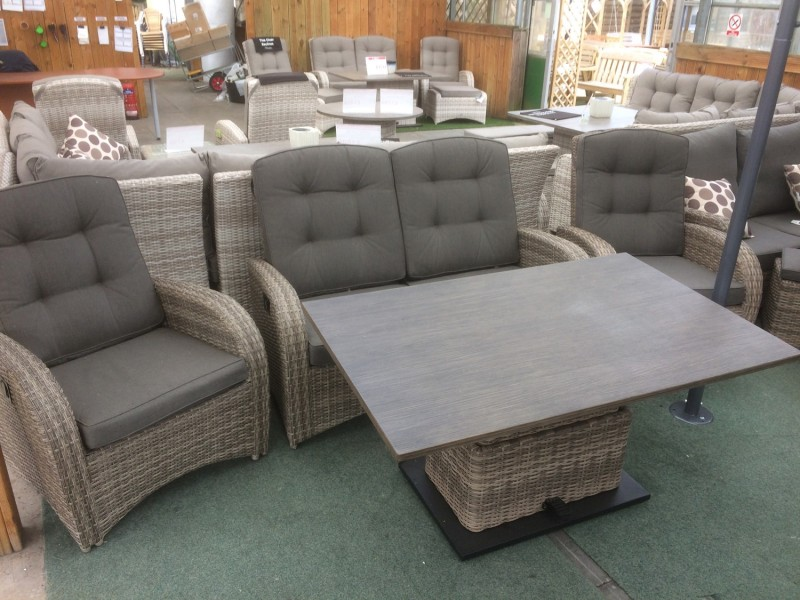 Reclining 4 Seater Sofa Set in Cappuccino Rattan