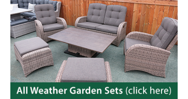 Weatherproof rattan garden furniture all weather patio for All weather garden furniture