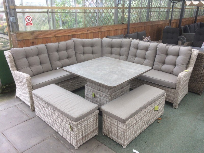 Sensational Larne Rattan Corner Sofa Set In Latte Spiritservingveterans Wood Chair Design Ideas Spiritservingveteransorg