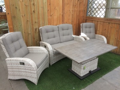 Reclining 4 Seater Sofa Set in Latte Rattan