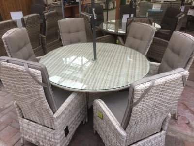 6 Seater Round Reclining Dining Set in Latte Rattan