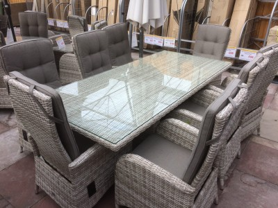 8 Seater Rectangle Reclining Dining Set in Latte Rattan