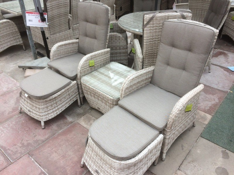 2 Seater Reclining Dining Chair Duo in Latte Rattan