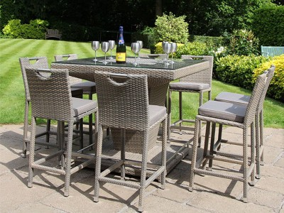 Rattan 8 Seater Square Bar Set