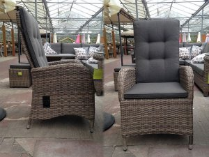 4 Seater Round Reclining Dining Set in Latte Rattan