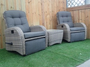 Rocking & Reclining Rattan Bistro Set in Cappuccino Brown