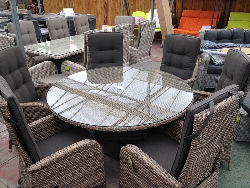 6 Seater Round Reclining Dining Set in Cappuccino Rattan