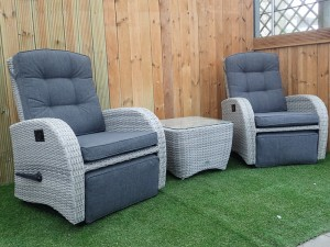 Rocking & Reclining Bistro Set in Silver Grey Rattan