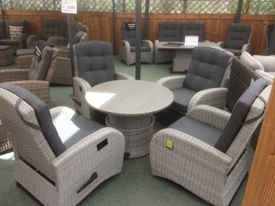 Rocking Reclining 4 Seater Round Table Set in Silver Grey Rattan