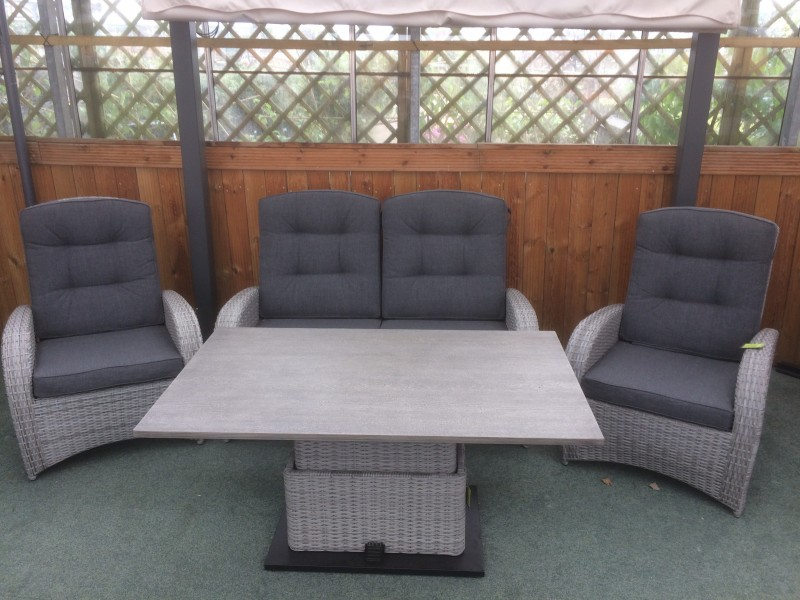Reclining 4 Seater Sofa Set in Silver Grey Rattan