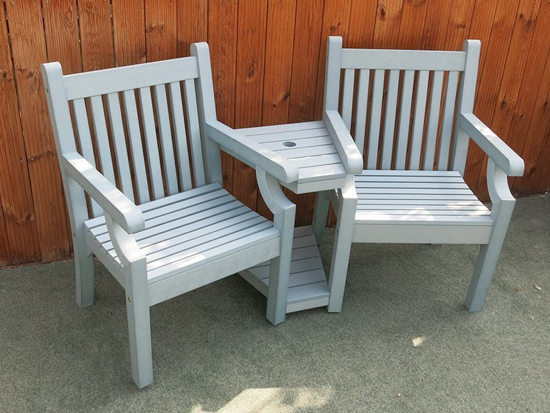 Winawood love seat blue wood effect composite for Garden love seat uk
