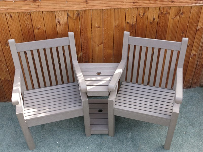 Winawood love seat grey wood effect composite for Garden love seat uk