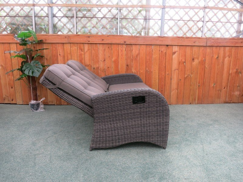 reclining rattan 4 seater sofa set grey buy garden. Black Bedroom Furniture Sets. Home Design Ideas