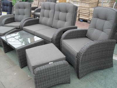 Reclining 4 Seater Sofa Set in Stone Grey Rattan