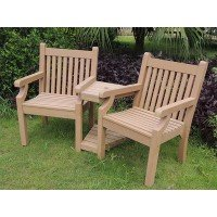 Winawood™ Love Seat - Teak Finish