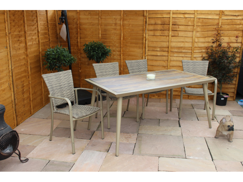 6 Seater Rectangular Rattan Dining Set with Copa Wood Table