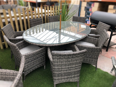 8 Seater Rattan Oval Dining Set
