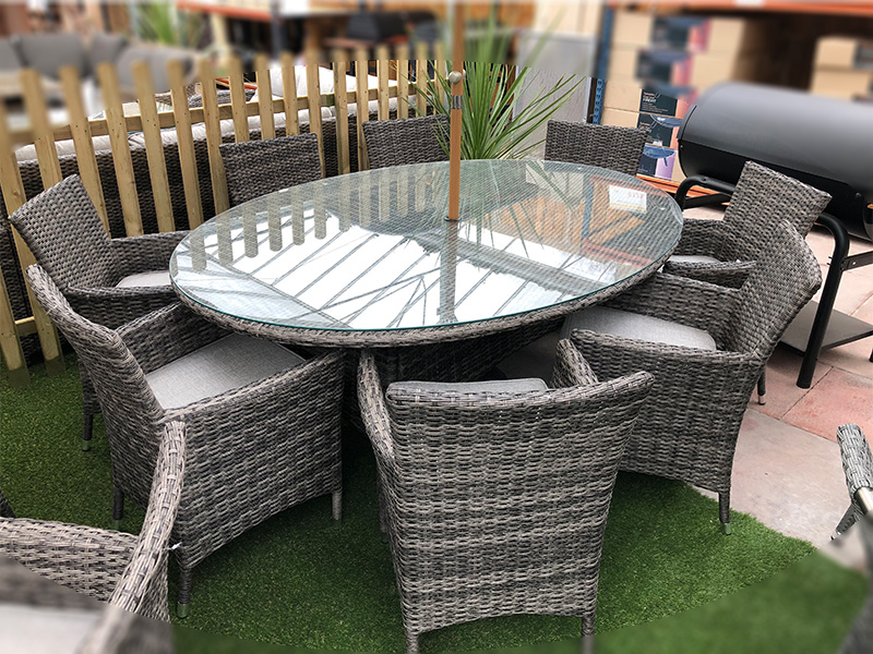 Rattan 8 Seater Oval Dining Set