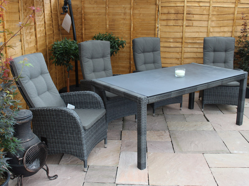 6 Seater Rectangular Reclining Dining Set in Stone Grey Rattan