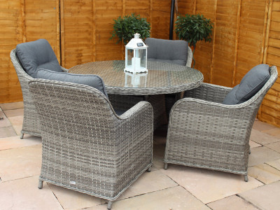 Volos Rattan 4 Seater Round Dining Set Mixed Grey