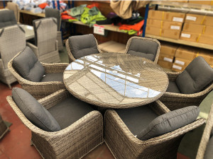 Volos Rattan 6 Seater Round Dining Set Mixed Grey