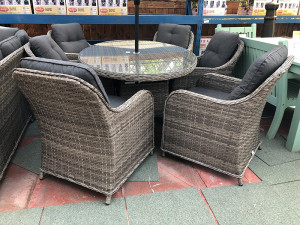Volos Rattan 6 Seater Oval Dining Set Mixed Grey