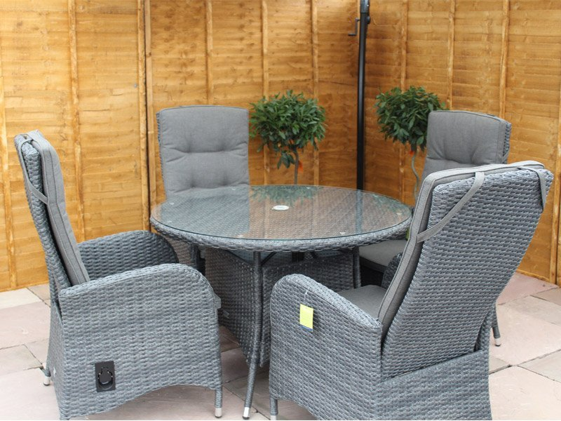 Round Rattan Dining Set With Reclining Chairs Stone Grey