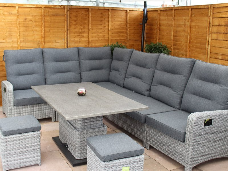 Large Reclining Rattan Corner Sofa Set - Silver Grey