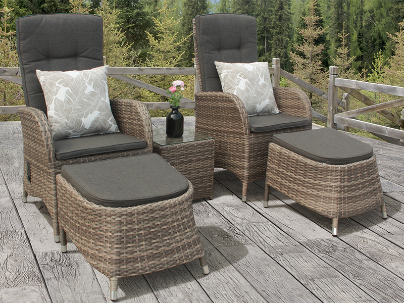 2 Seater Reclining Duo Bistro Set in Cappuccino Rattan