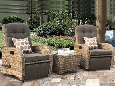 Rocking & Reclining Bistro Set in Cappuccino Rattan