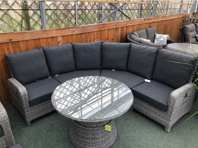 Curved Corner Rattan Sofa Set in Silver Grey