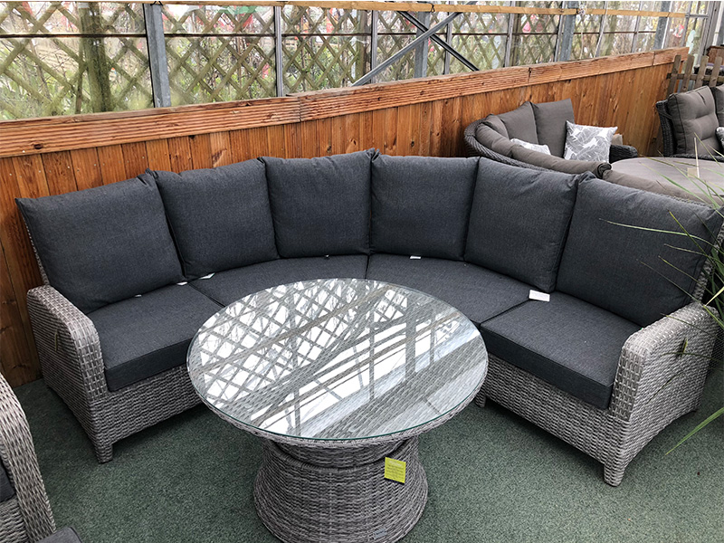 Curved Rattan Corner Sofa Set In Silver Grey Cushions