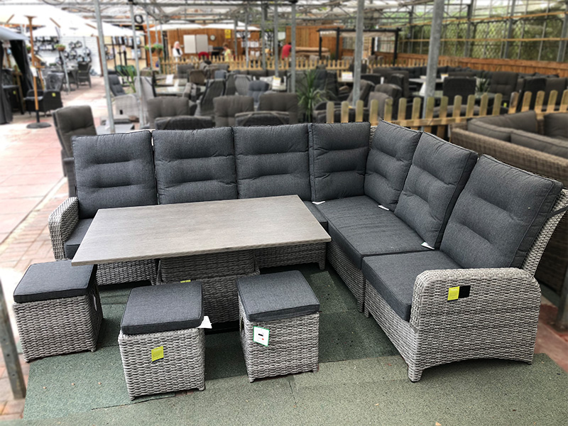 Large Reclining Rattan Corner Sofa Set Silver Grey