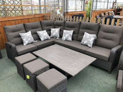Large Reclining Rattan Corner Sofa Set - Stone Grey