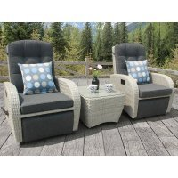 Bellevue Rocking & Reclining Rattan Bistro Set Silver Grey
