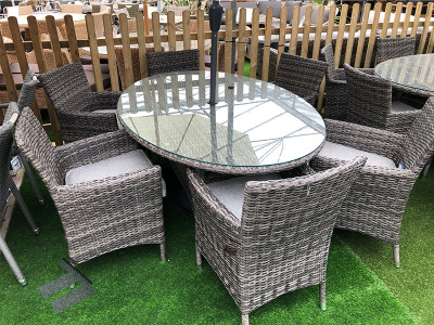 6 Seater Oval Rattan Dining Set - Grey