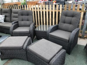 Reclining Bistro Set (Stone Grey Rattan) with Footstools