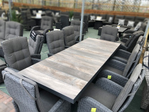 Extendable Rattan Dining Set (6-8 Seater) with Reclining Chairs