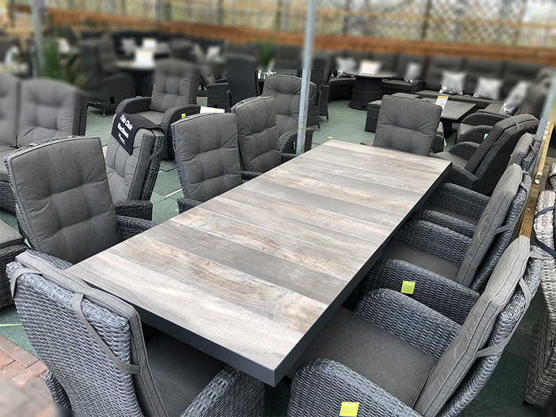 Extendable rattan dining set 6 8 seater with reclining for Furniture mile end homemaker centre