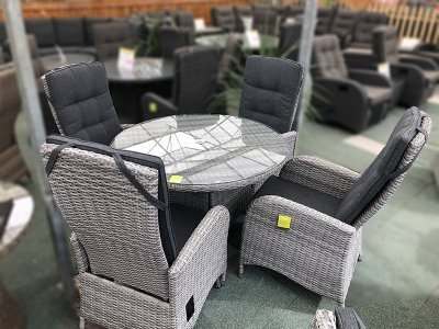 4 Seater Round Reclining Dining Set in Silver Grey Rattan