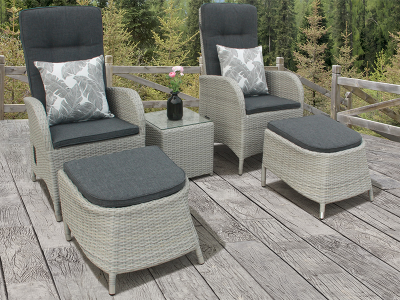 2 Seater Reclining Duo Rattan Bistro Set in Silver Grey