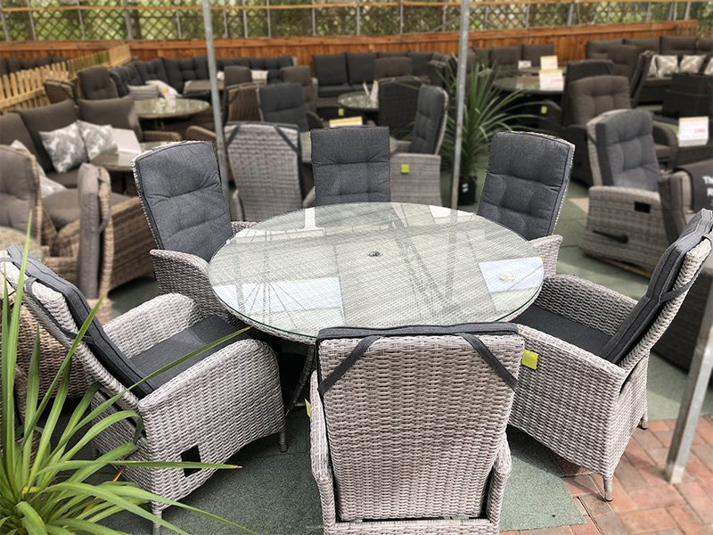 6 Seater Round Reclining Dining Set in Silver Grey Rattan