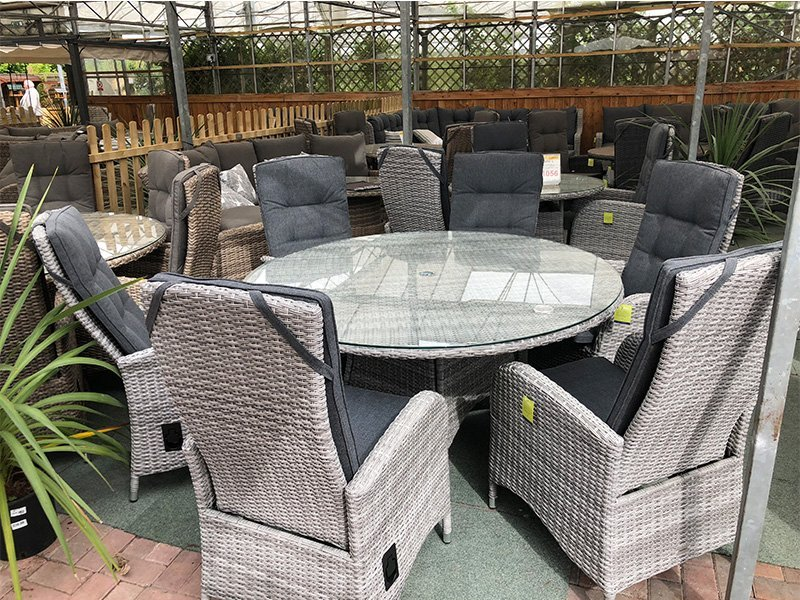Silver Grey Rattan Dining Set 6 Reclining Garden Chairs Uk
