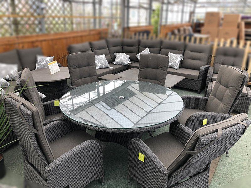 6 Seater Round Reclining Dining Set in Stone Grey Rattan