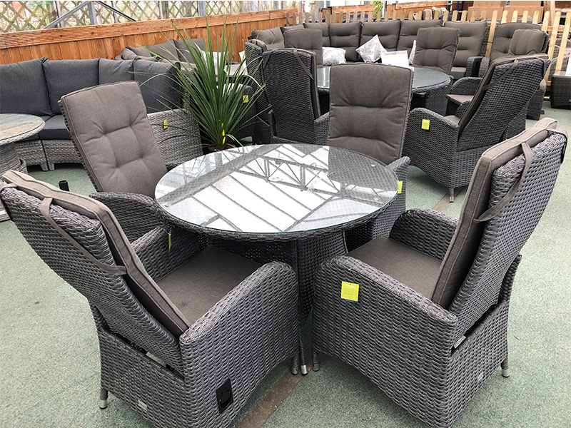 Stone Grey Round Rattan Dining Set With Reclining Chairs