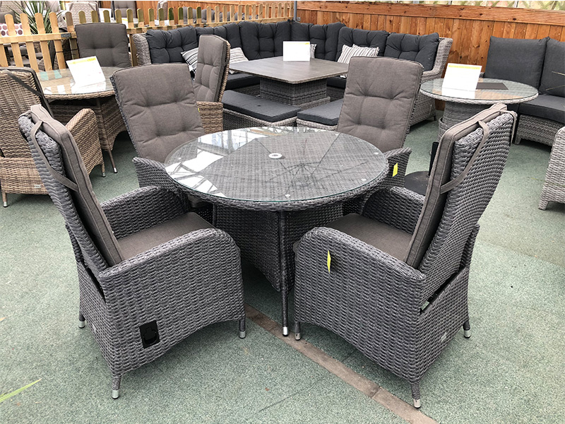 4 Seater Round Reclining Dining Set in Stone Grey Rattan