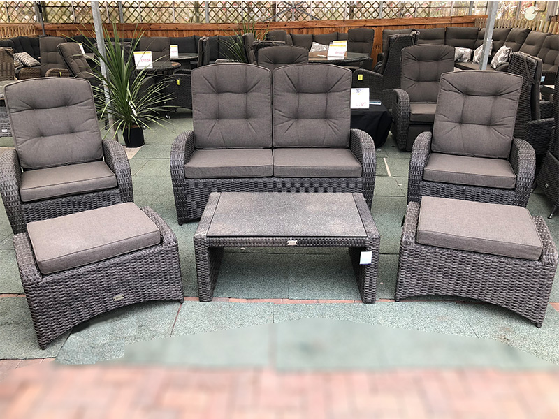 Reclining Rattan 4 Seater Sofa Set Grey Garden Centre